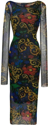 Versace Sheer Patterned Overlay Midi Dress