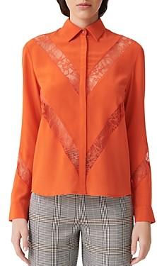 Maje Chimer Silk Button-Down Shirt