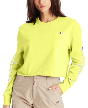 Champion Women's Cotton Long-Sleeve Cropped T-Shirt