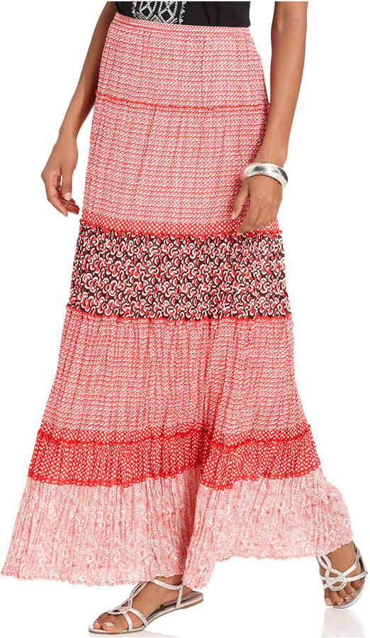 Style&Co. Skirt, Printed Tiered Maxi