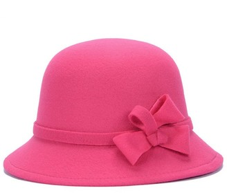Greenlans Women Vintage Autumn Bow Solid Color Lady Wide Brim Bucket Hat Cap