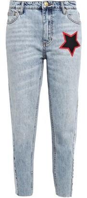 P.E Nation Miller Cropped Printed High-rise Slim-leg Jeans