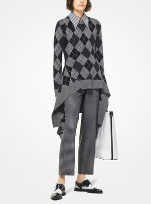 Michael Kors Houndstooth Flannel Cropped Trousers