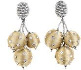 Oscar de la Renta Polka Dot Sequin Triple Ball Earrings