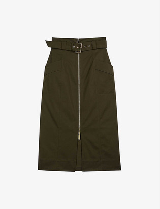Ted Baker Janiis high-waist stretch-cotton midi skirt