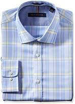 Tommy Hilfiger Men's Non Iron Slim Fit Large Plaid Spread Collar Dress Shirt
