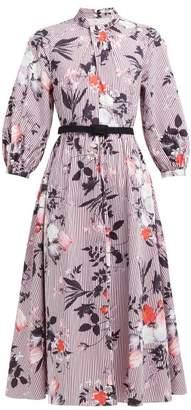Erdem Adrienne Isabelle-print Cotton Poplin Midi Dress - Womens - Burgundy Print