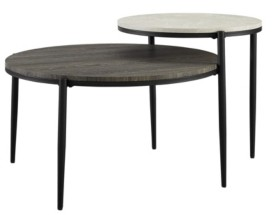 Walker Edison Ella Round Tiered Two-Tone Coffee Table
