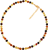 Goldmajor Gold Plated Amber Bead Necklace, Multi