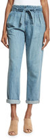 Joie Lucilia Denim Paperbag-Waist Pants, Sea Wash