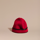 Burberry Ribbed Cashmere Tipped Beanie, Red
