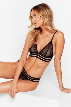 Nasty Gal Womens Strappy Bralette And Panty Set with Lace - Black