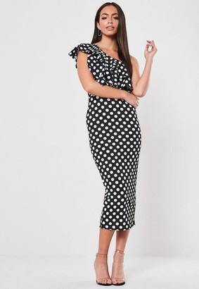 Missguided Polka Dot One Shoulder Midi Dress