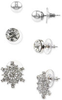 Charter Club Holiday Lane Silver-Tone 3-Pc. Set Multi-Stone Stud Earrings, Created for Macy's