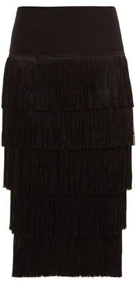 Norma Kamali Fringed Pencil Skirt - Black
