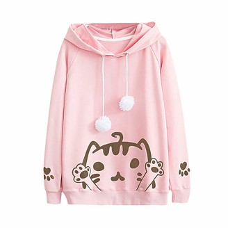 Fhuuly Women's Cat Print Jumper Hoodie Cute Sweatshirt Cat Ear Pullover Long Sleeves Tops Fit for Adults Ladies Teens (White M)