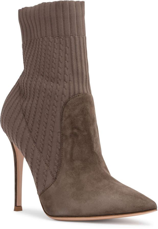 Gianvito Rossi Katie 105 Khaki Suede Sock Booties