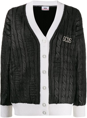 GCDS Metallic Cable Knit Cardigan