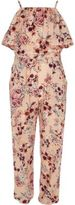 River Island Girls Pink floral frill cami jumpsuit