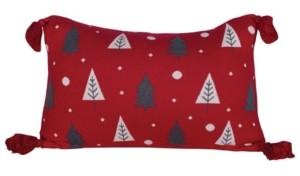 "Creative Co Op Inc Creative Co-op Inc Cotton Knit Lumbar Pillow with Trees Tassels, 24"" x 16"""
