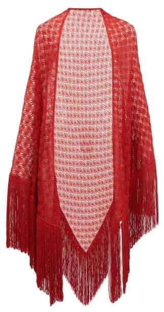 Missoni Tassel Trim Lurex Knit Shawl - Womens - Red
