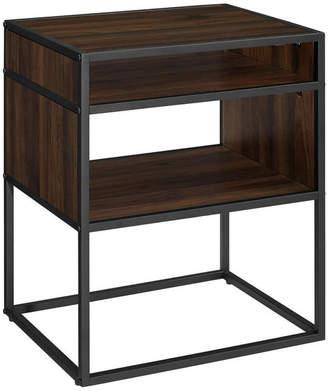 """Walker Edison 20"""" Metal and Wood Side Table With Open Shelf, Dark Walnut"""