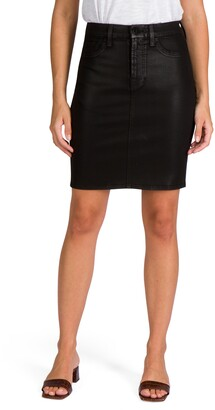 Jen7 Coated Denim Pencil Skirt