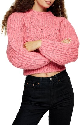 Topshop Cable Knit Crop Sweater