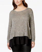 ING Plus Size Long-Sleeve Layered-Look Top