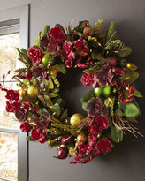 "Horchow ""Bordeaux"" Pre-Lit Christmas Wreath"