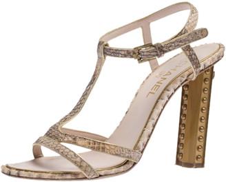 Chanel Light Pink Python Open Toe T Strap CC Metal Heels Sandals Size 41