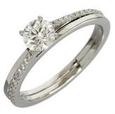 De Beers 950 Platinum Solitaire Diamond Ring Size 5