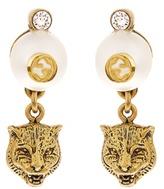 Gucci Faux-pearl embellished feline-drop earrings