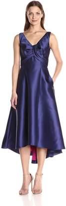 Carmen Marc Valvo Women's Sleeveless Colorblock Hi Low V Neck Dress