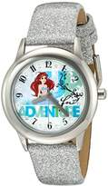 Disney Girl's 'Ariel' Quartz Stainless Steel and Leather Watch, Color:Silver-Toned (Model: W002919)