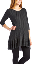 Glam Black Pin Dots Ruffle-Hem Maternity Tunic