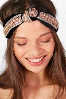 boohoo Ava Twist Knot Embellished Turban Headband black