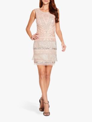 Adrianna Papell Beaded Fringe Mini Dress, Shell