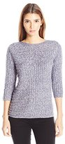 Leo & Nicole Women's Petite 3/4 Sleeve Textured Boat Neck Pull Over Sweater