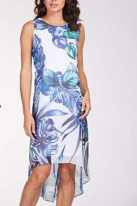 Frank Lyman Floral Print Hi Low Cruise Dress