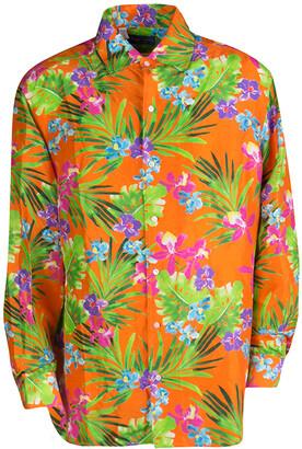 Ralph Lauren Orange Tropical Floral Print Button Front Silk Shirt XXL