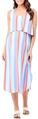 Ripe Luna Stripe Nursing Dress Blue