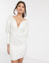 Rare London plunge front jacquard mini dress with statement puff sleeve in cream