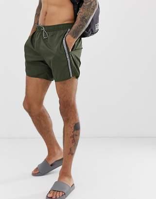 Emporio Armani taped logo swim shorts in khaki-Green