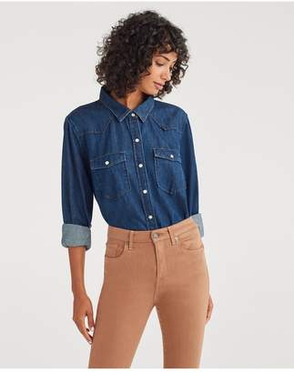 7 For All Mankind Western Denim Shirt In Avant Rinse
