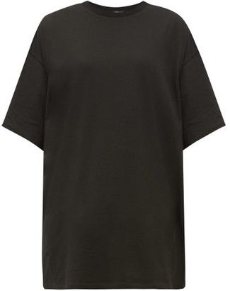 Raey Long-line Heavy Cotton-jersey T-shirt - Womens - Black