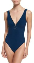 Karla Colletto Ring Zip V-Neck Underwire One-Piece Swimsuit