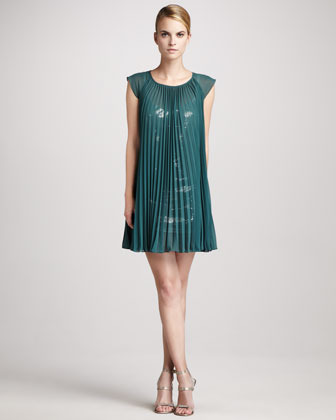 Erin Fetherston Erin by Pleated Sequin-Underlay Dress