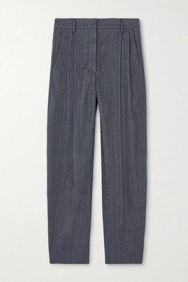 Stella McCartney Dawson Cropped Pleated Wool-blend Tapered Pants - Gray