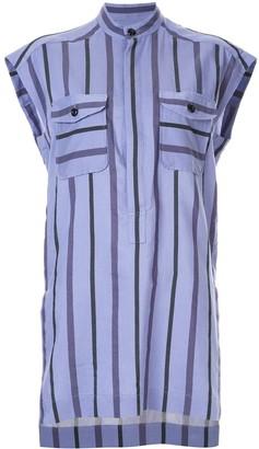 Ujoh Band Collar Striped Shirt
